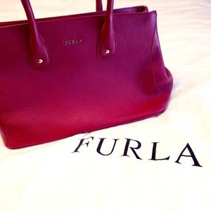 Red Furla New Pebble Leather Tote